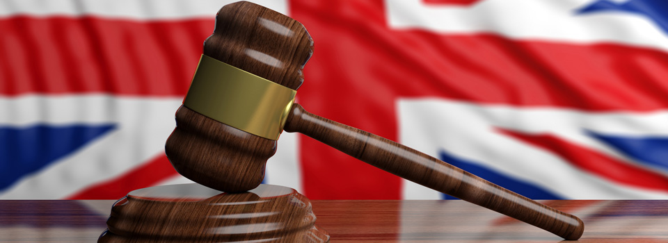 Gavel in front of Union Flag